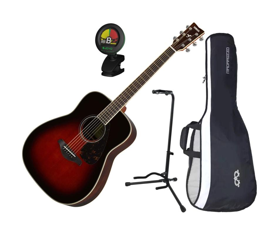 163a6bd10f FG830TBS Solid Sitka Spruce Top Folk Acoustic Guitar Tobacco Sunburst w/  Gig Bag, Stand, and Tuner