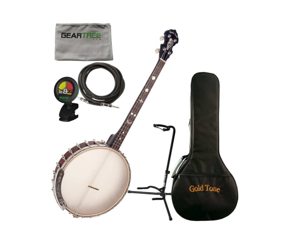 Goldtone IT-19 Irish Tenor Banjo w/ Bag, Stand, Cl