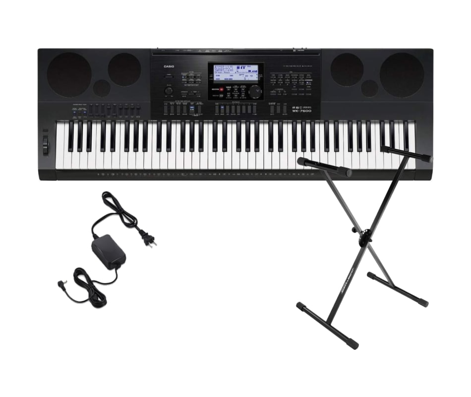 casio wk7600 workstation keyboard with 76 touch sensitive keys usb w keyboard stand and power. Black Bedroom Furniture Sets. Home Design Ideas