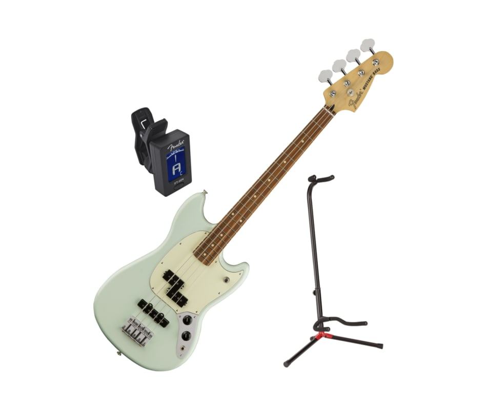 Sonic Blue Mustang PJ Electric Bass Bundle