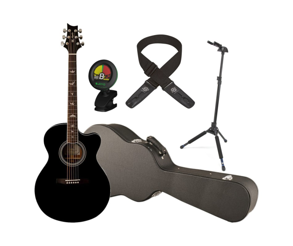 8938ffa98f Guitars SE Angelus A10E Black Acoustic Electric Guitar w/Hardshell Case,  Locking Stand, Tuner, and Locking Strap
