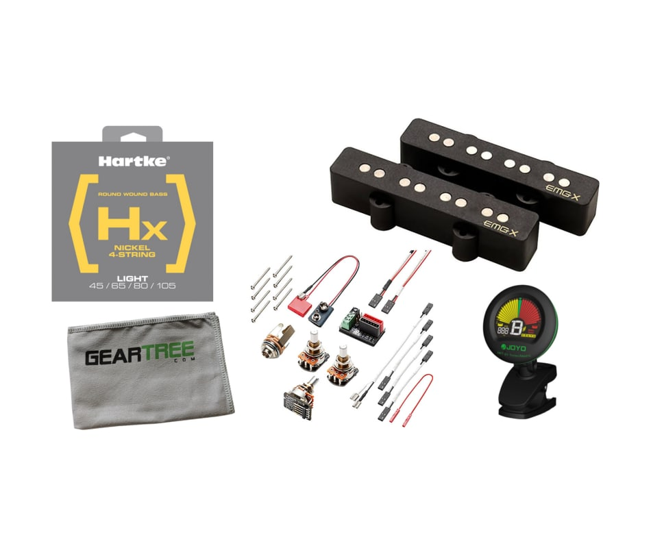 JVX Jazz Bass Black Solderless Pickup Set Bundle