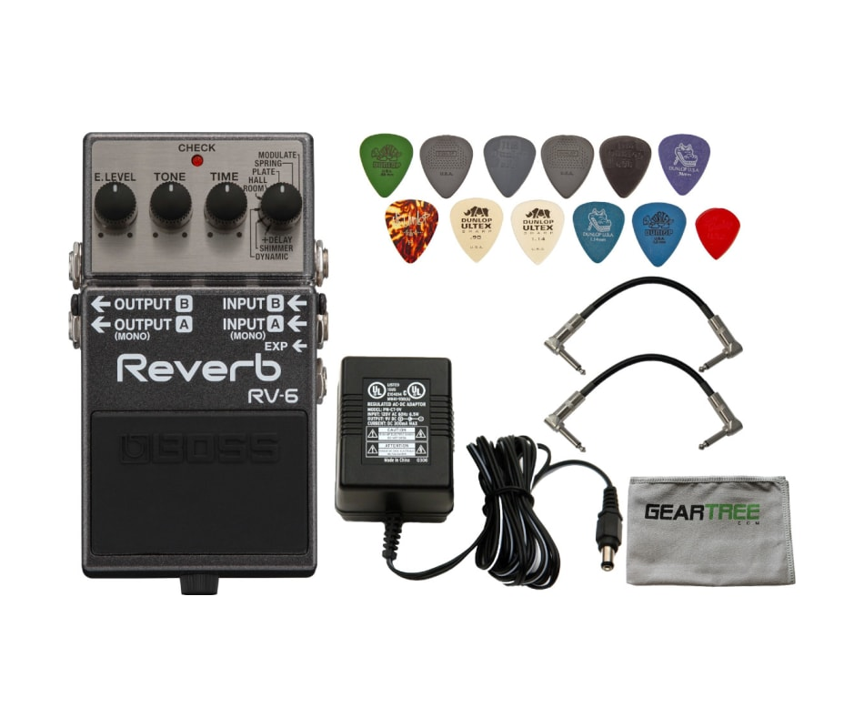 Boss RV-6 Digital Reverb Pedal w/ Power Supply, 2