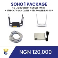 This package is for small homes and offices and can carry up to 50 concurrent users browsing at the same time.   Use Case: ​ This can work in a home, e.g 2 or 3 storey building and also cover its environs. The estimated coverage range is approx. 75m radius for each Access point.   The package consists of a 1 x 4G LTE Sim-Enabled Router, 1 x Access Point,  1 x 20m CAT 6LAN Cable, 2 x Powerbank.