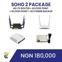 This package is for small homes and offices and can carry up to 100 concurrent users browsing at the same time.  Use Case: ​ This can work in a home, e.g 3 - 4 storey building and also cover its environs. Estimated coverage range is approx. 75m radius for each Access point.  The package consists of a 1 x 4G LTE Sim-Enabled Router, 2 x Access Point,  2 x 20m CAT 6LAN Cable, 3 x Power Backup