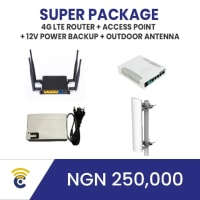 This package is for homes and outdoor areas and can take a maximum of 200 concurrent users browsing at the same time.   Use Case:  This can work in a home, 3 storey building, and also outdoor use cases. Estimated coverage range is approx. 75m radius + 300m+ Directional Coverage. A typical example is a market line.   This can provide internet over market lines, Parks  300m+ length. Please note that the Transmission and Excellent Coverage for the Outdoor directional antenna is designed based on Line of sight, for the coverage area.   The package consists of a 1 x 4G LTE Sim-Enabled Router, 1 x Access Point, 2 x 20m CAT 6LAN Cable, 1 x Outdoor Antenna, 3 x Power Backup