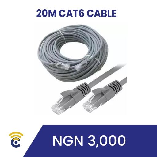 Original 20m CAT 6 cable with RJ45 plugs