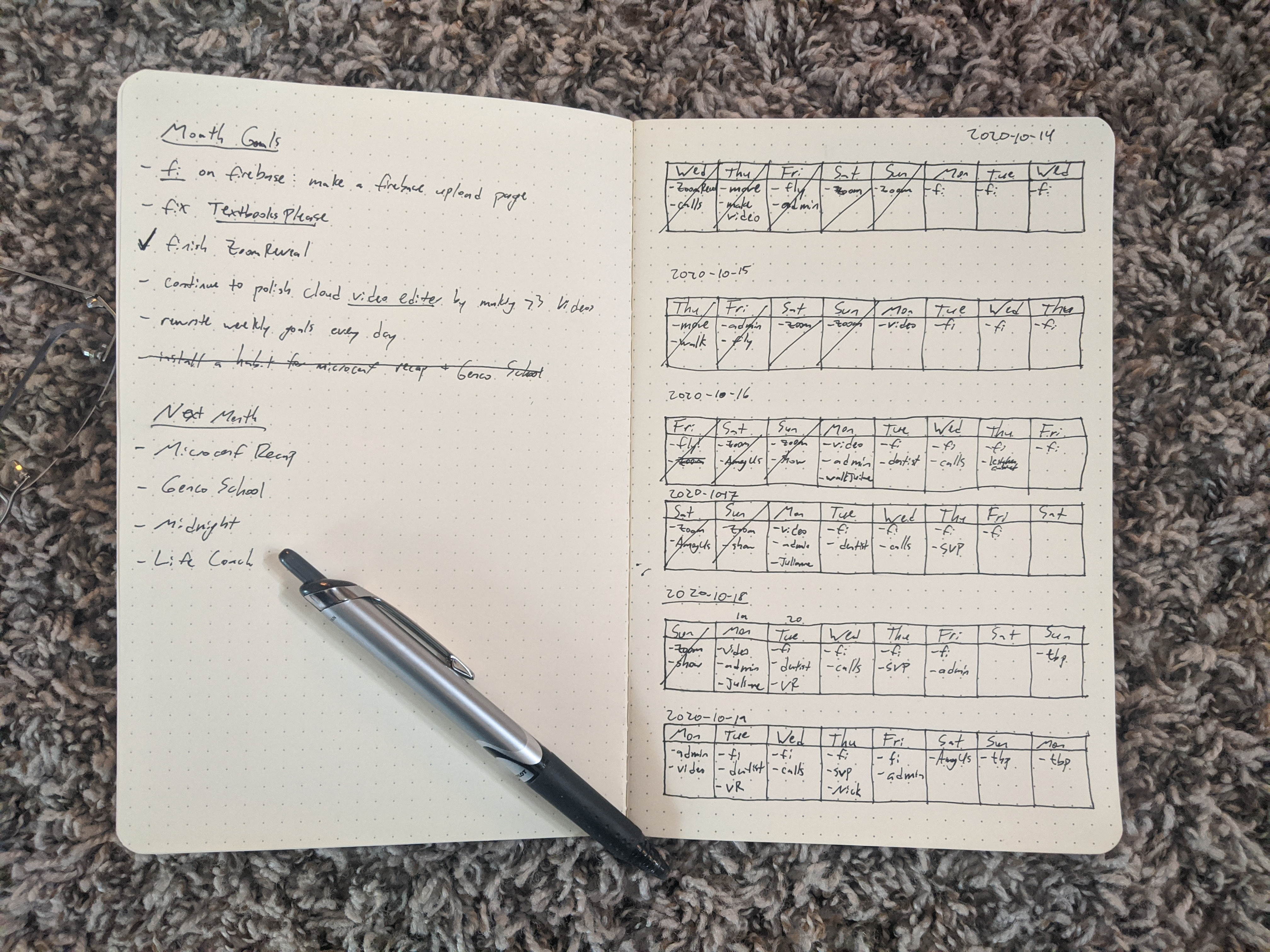 My journal for setting weekly goals