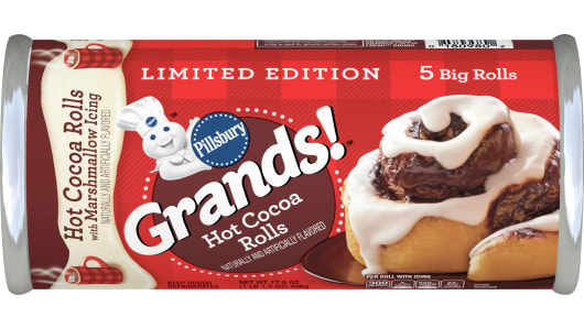 Limited Edition Pillsbury Grands! Hot Cocoa Rollswith Marshmallow Icing - Front