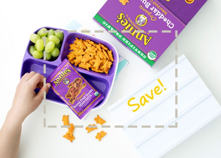 lunch box filled with annie's fruit snacks