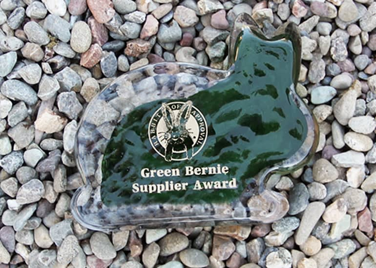 """A rabbit-shaped award with the title """"Rabbit of approval: Green Bernie Supplier Award"""""""