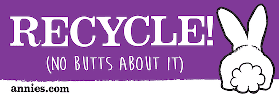 """A rectangular purple sticker showing Bernie's backside. It reads """"Recycle! (no butts about it)"""""""