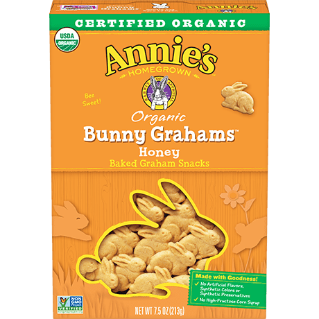 A box of Annie's Organic Honey Bunny Grahams baked graham snacks