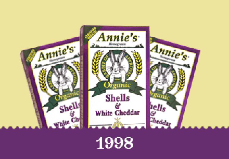 Year 1998 - Original packaging for Annie's Organic Shells & White Cheddar