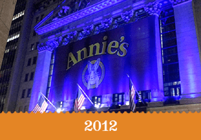 Year 2012 - The Annie's banner lit up with purple celebration lights