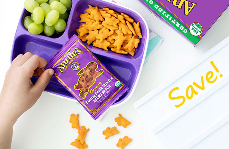 Lunch on table with Annie's Fruit Snacks and Cheddar bunnies with Save Callout for printable coupons