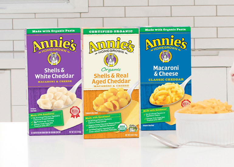 Boxes of Annie's Shells and Original Macaroni and CheeseWhite Cheddar, Shells and Real Aged Cheddar, and