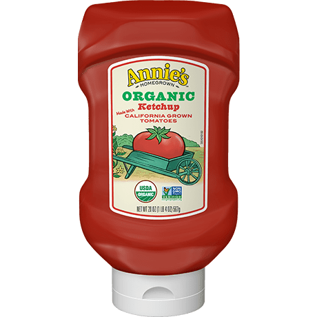 A bottle of Annie's Organic Upside Down Ketchup