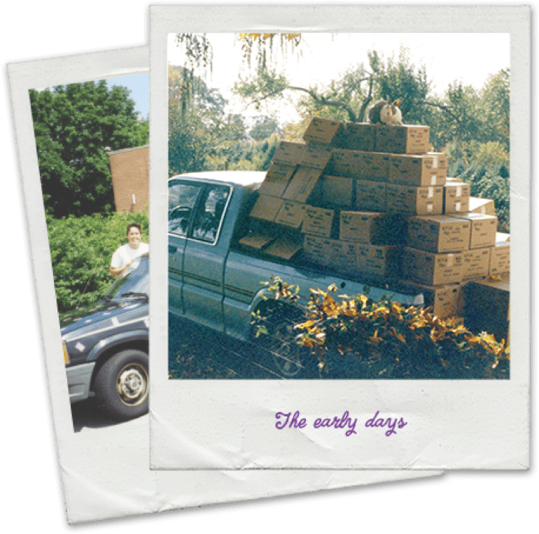 "Polaroid photos of a pickup truck filled with Annie's boxes. ""The Early Days"" is written at the bottom of the top photo."