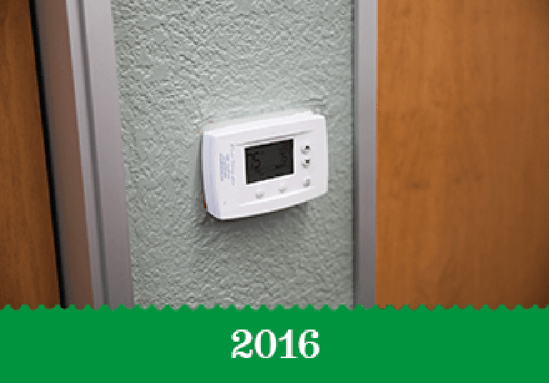 Year 2016 - A thermostat on an office wall