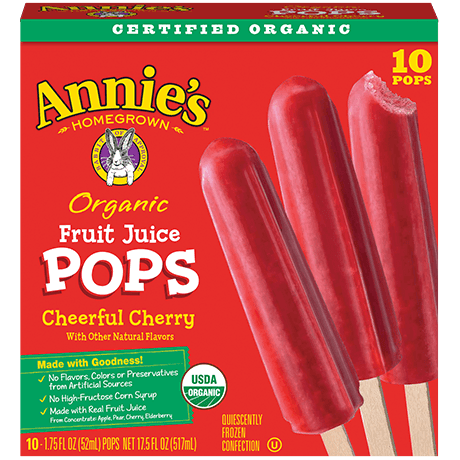Annie's Homegrown cheerful cherry organic fruit juic pops