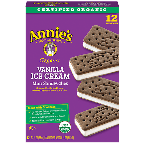Annie's Homegrown organic vanilla ice cream mini sandwiches