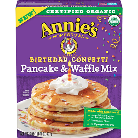 box of Annie's Birthday Confetti Cake Pancake & Waffle Mix