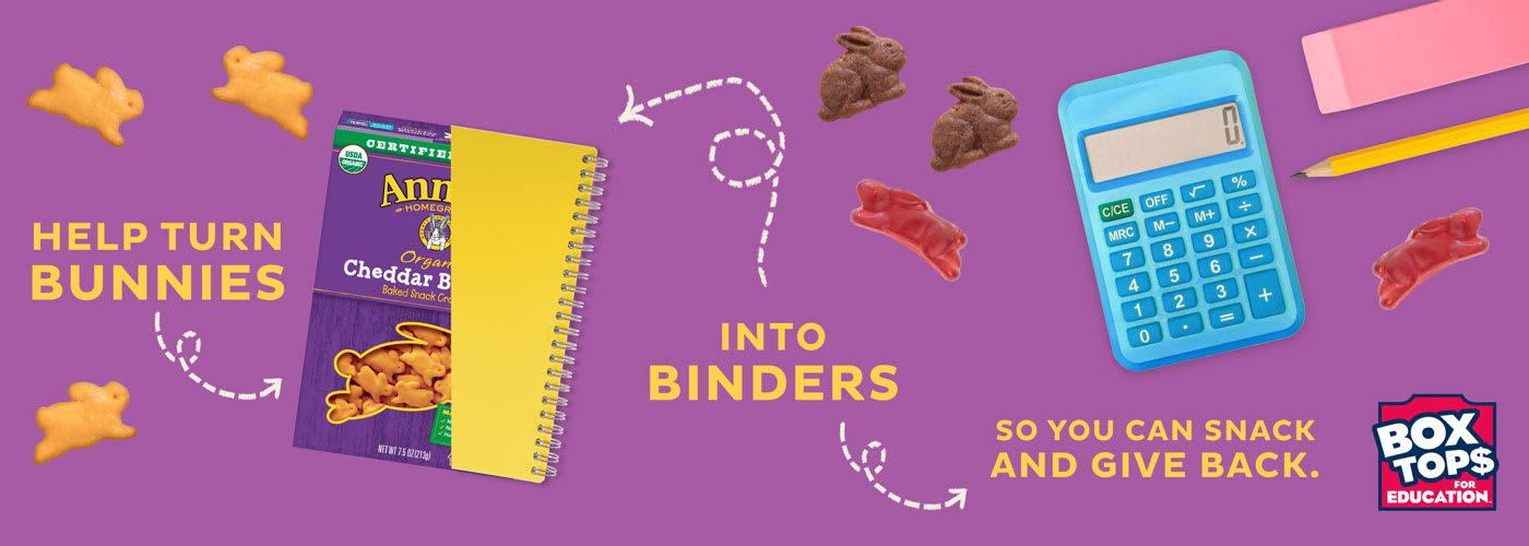 Cheddar Bunnies, a notebook, calculator and a pencil and an eraser.
