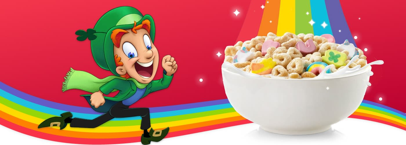 Lucky the Leprechaun racing along a rainbow towards a bowl of Lucky Charms cereal