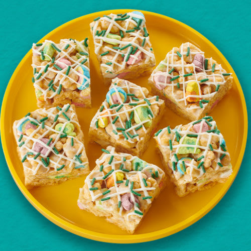No Bake Lucky Charms Honey Clovers Bars