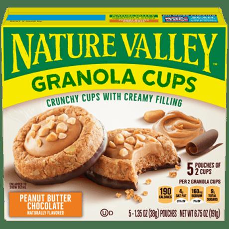 Granola cups crema de cacahuate/maní y cubierta chocolate