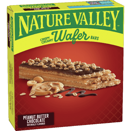 Box of Nature Valley Wafer bars in Peanut Butter Chocolate flavor