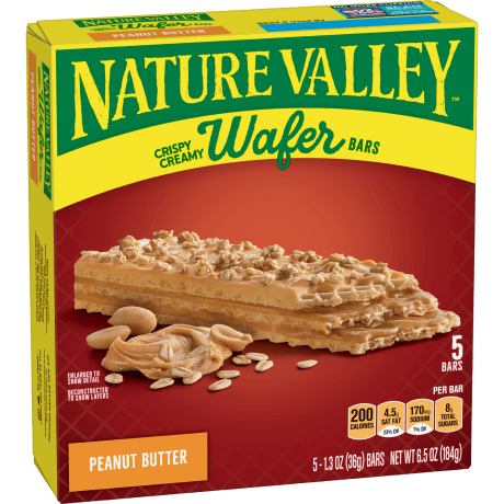 Box of Nature Valley Wafer bars in Peanut Butter flavor
