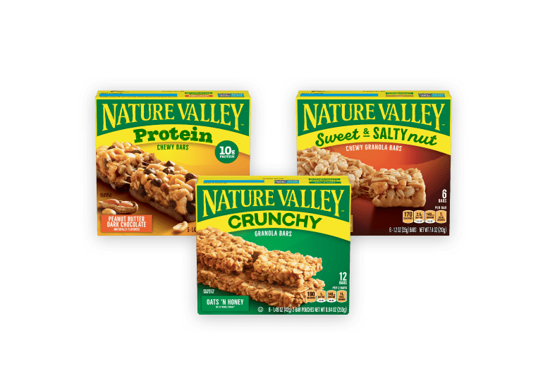 Three boxes of Nature Valley bars: Protein, Crunchy, and Sweet & Salty