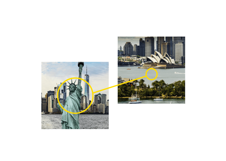 A yellow line connecting the Statue of Liberty and the Sydney Opera House