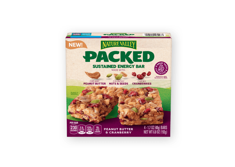 A box of Nature Valley Packed Sustained Energy Bars