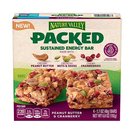 Packed Peanut Butter & Cranberry Sustained Energy Bars