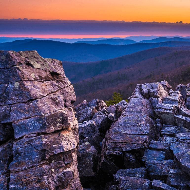 Sunset skyline drive at Shenandoah National Park
