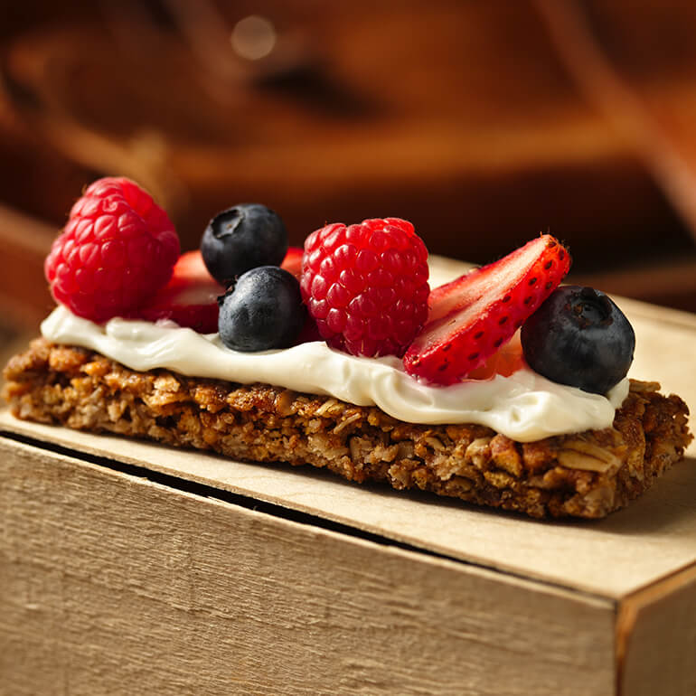 a slice of Berries and Cream Granola Bars
