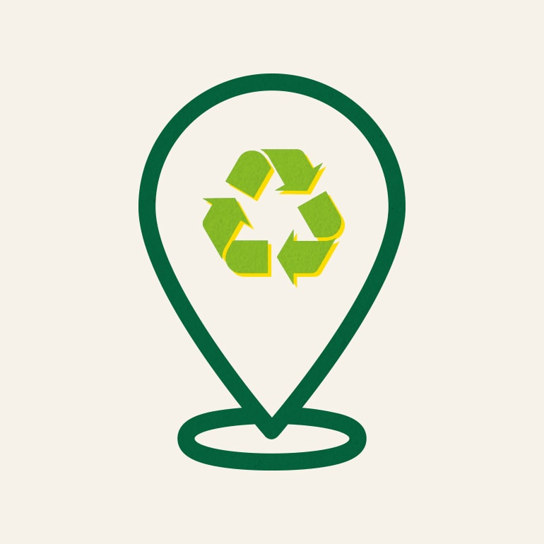 Recycle Logo in a pin drop