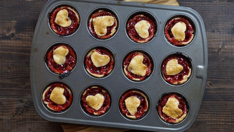 3-Ingredient Mini Heart Cherry Pies
