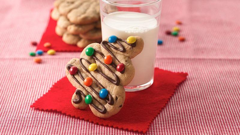 Biscuits aux grains de chocolat en forme de sapin