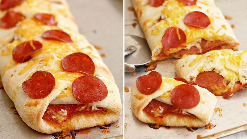 Stuffed Pepperoni Pizza Braid