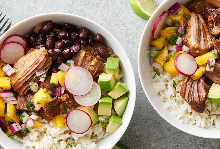 2 Slow-Cooker Pork Rice Bowls with Mango Salsa