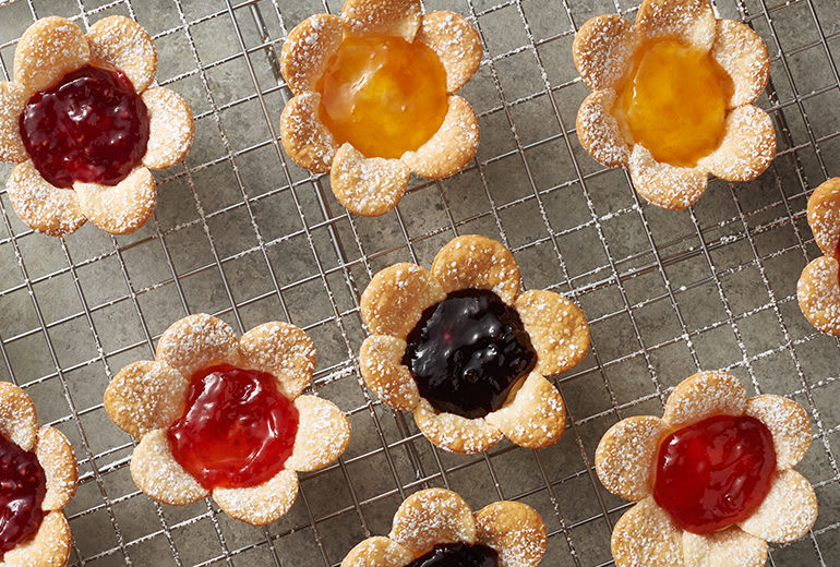 image of mini cream cheese jam flower tarts