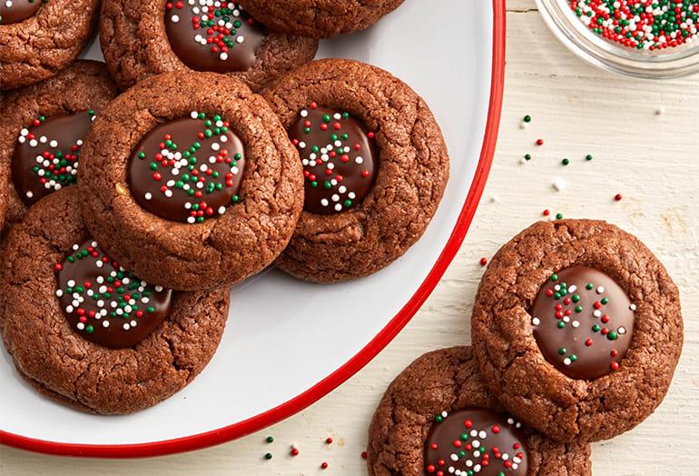 Chocolate-Toffee Thumbprint Cookies