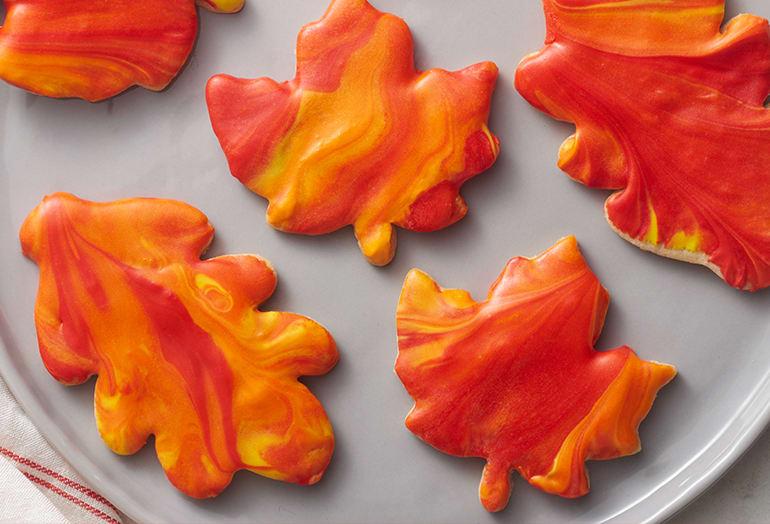 Maple Marbled Leaf Cookies