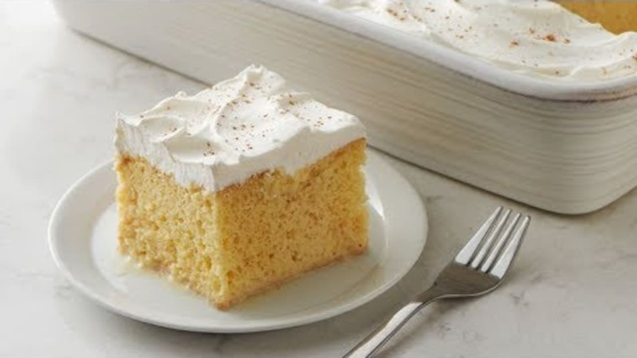 Video thumbnail image. Eggnog Tres Leches Cake | Betty Crocker Recipe