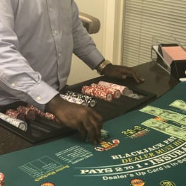 Casino table and dealer