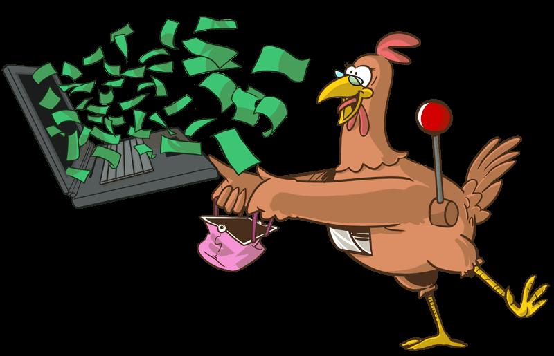 La gallina ha vinto dei soldi giocando in un casino online.